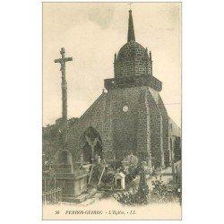 carte postale ancienne 22 PERROS-GUIREC. L'Eglise et le Cimetière