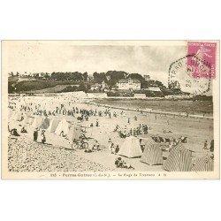carte postale ancienne 22 PERROS-GUIREC. Plage de Trestraou 1935 n° 113