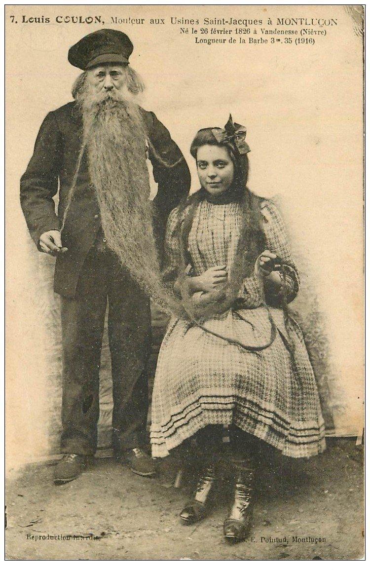 carte postale ancienne 03 MONTLUCON. La barbe de Louis Coulon mouleur et jeune Femme