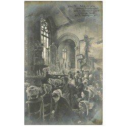 carte postale ancienne 22 PLOUMANACH. Pêcheurs Ploumanakais Chapelle de Clarté. Salon 1909