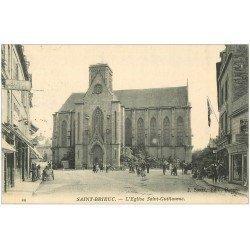 carte postale ancienne 22 SAINT-BRIEUC. Eglise Saint-Guillame 1916. Mercerie Moderne et Zinguerie. Tampon Militaire