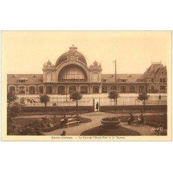 carte postale ancienne 22 SAINT-BRIEUC. Gare de l'Ouest-Etat et Square