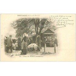 carte postale ancienne 22 SAINT-BRIEUC. Jour de Foire aux Cochons. Carte Pionnière vers 1900