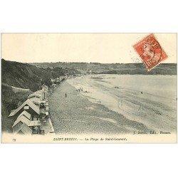 carte postale ancienne 22 SAINT-BRIEUC. La Plage de Saint-Laurent 1915