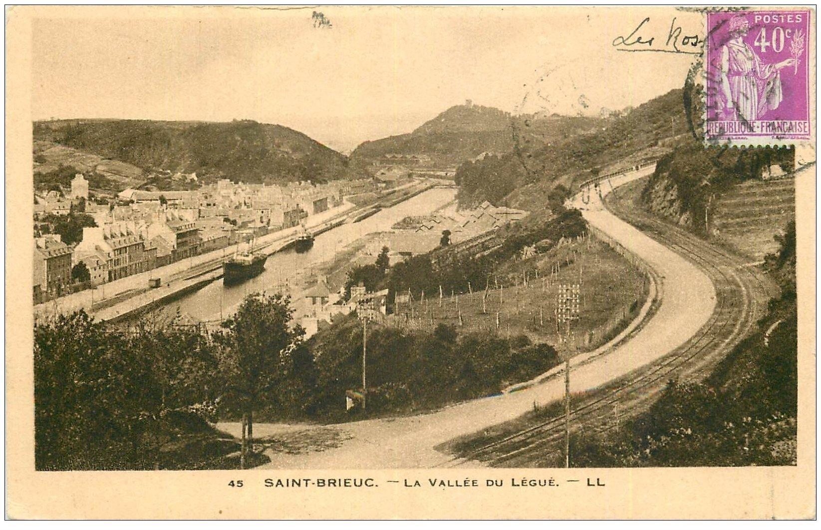 carte postale ancienne 22 SAINT-BRIEUC. La Vallée du Légué 1934