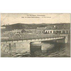 carte postale ancienne 22 SAINT-BRIEUC. Le Légué avec Pont Tournant. Café de la Marine et à la Cascade