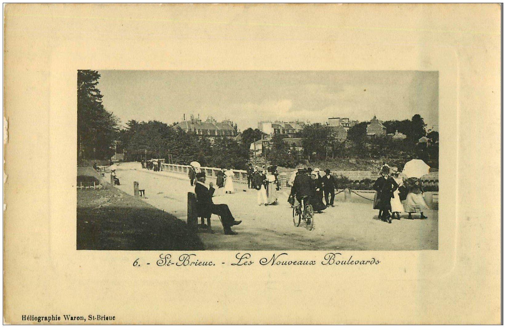 carte postale ancienne 22 SAINT-BRIEUC. Les Nouveaux Boulevards. Carte émaillographie (défaut)