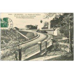 carte postale ancienne 22 SAINT-BRIEUC. Palais de Justice. Point départ des Chemins de Fer 1908 train à vapeur