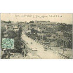 carte postale ancienne 22 SAINT-BRIEUC. Route Nationale de Paris à Brest 1907 et Pont de Pierre