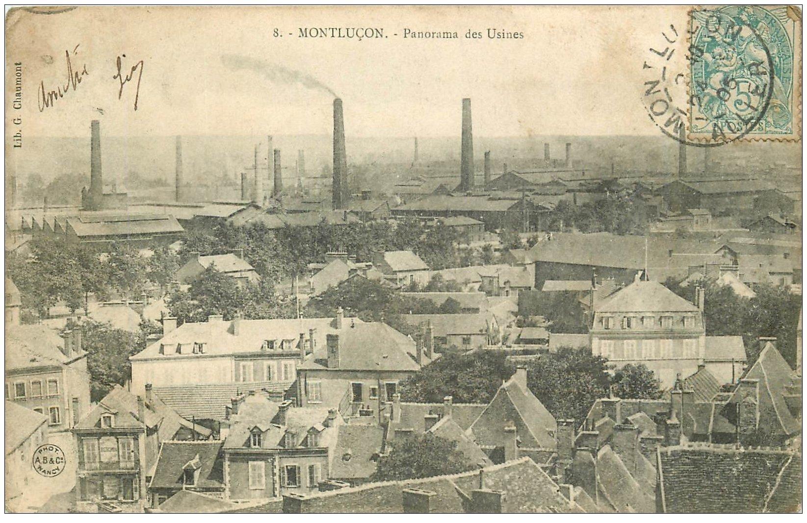 carte postale ancienne 03 MONTLUCON. Les Usines 1905 (pli coin droit)...