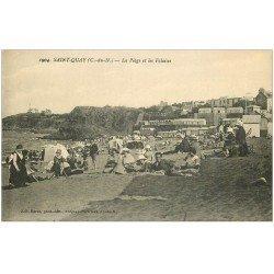 carte postale ancienne 22 SAINT-QUAY-PORTRIEUX. La Plage et Falaises
