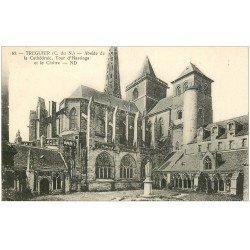 carte postale ancienne 22 TREGUIER. La Cathédrale tour d'Hasting et Cloître