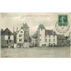 carte postale ancienne 22 TREGUIER. Les Quais et Entrée de la Ville 1907. Café de la Croix Blance