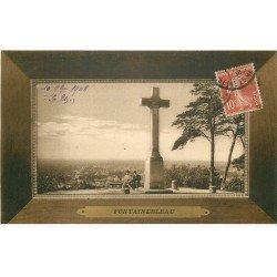 carte postale ancienne 77 FONTAINEBLEAU. 5 Cpa style cadres 1909. Calvaire, Palais et Forêt