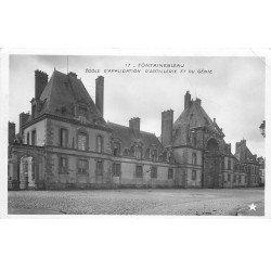 77 FONTAINEBLEAU. 4 Cpa style phpto émaillographie. Ecole Artillerie Génie, Hôtel de Ville, Canal et Palais