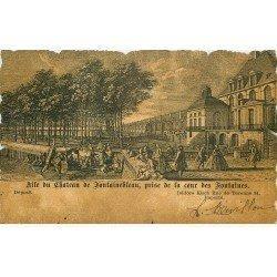 carte postale ancienne 77 FONTAINEBLEAU. Cour des Fontaines. Carte style parchemin bords découpe 1902
