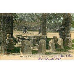 carte postale ancienne 77 FONTAINEBLEAU. La Table du Roi. Carte toilée 1909