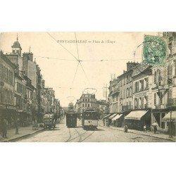 carte postale ancienne 77 FONTAINEBLEAU. Place de l'Etape 1907 Café de l'Union (défauts)