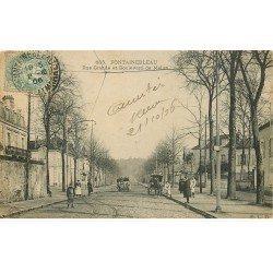 carte postale ancienne 77 FONTAINEBLEAU. Rue Grande et Boulevard de Melun 1906