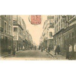 carte postale ancienne 77 FONTAINEBLEAU. Rue de France 1904 Facteur à vélo