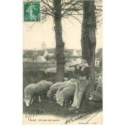 carte postale ancienne 77 ANNET. Berger jouant de la Flûte coin de Louche 1910