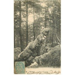 carte postale ancienne 77 BARBIZON. Rocher la Dame d'Apremont 1904