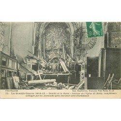 carte postale ancienne 77 BARCY. Eglise intérieur détruit 1915