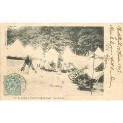carte postale ancienne 77 FONTAINEBLEAU. Le Repos 1905. Militaires et Campement + timbre taxe