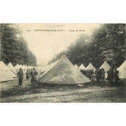 carte postale ancienne 77 FONTAINEBLEAU. Camp du Bréau. Militaires et Campement