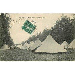 carte postale ancienne 77 FONTAINEBLEAU. Camp d'Avon 1909. Militaires et Campement