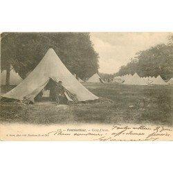 carte postale ancienne 77 FONTAINEBLEAU. Camp d'Avon 1904. Militaires et Campement
