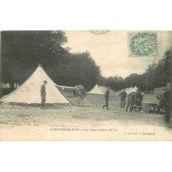 carte postale ancienne 77 FONTAINEBLEAU. Camp d'Avon. Plissure. Militaires et Campement