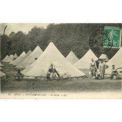carte postale ancienne 77 FONTAINEBLEAU. Camp d'Avon 1914. Militaires et Campement