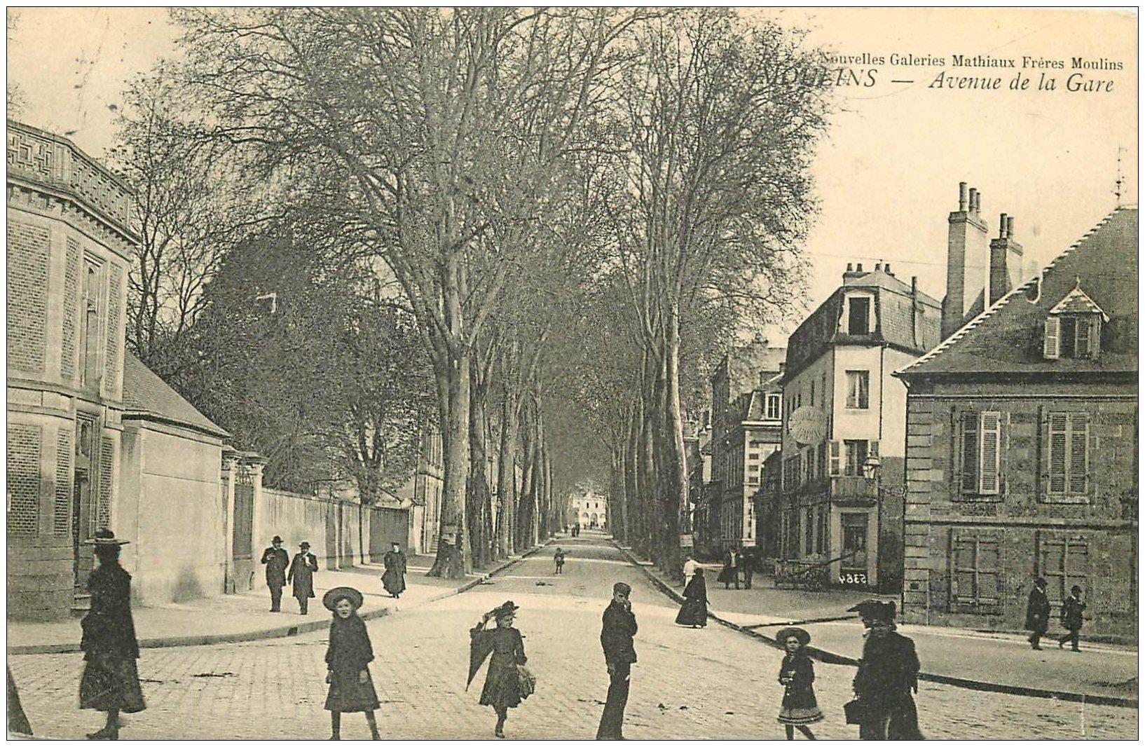 carte postale ancienne 03 MOULINS. Avenue de la Gare 1905
