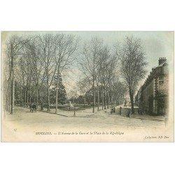 carte postale ancienne 03 MOULINS. Avenue de la Gare Place République 1905