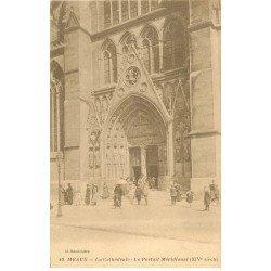 carte postale ancienne 77 MEAUX. La Cathédrale Portail