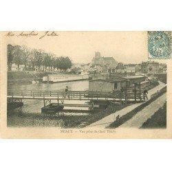 carte postale ancienne 77 MEAUX. Quai Thiers 1904 Péniches Lavoir Bains
