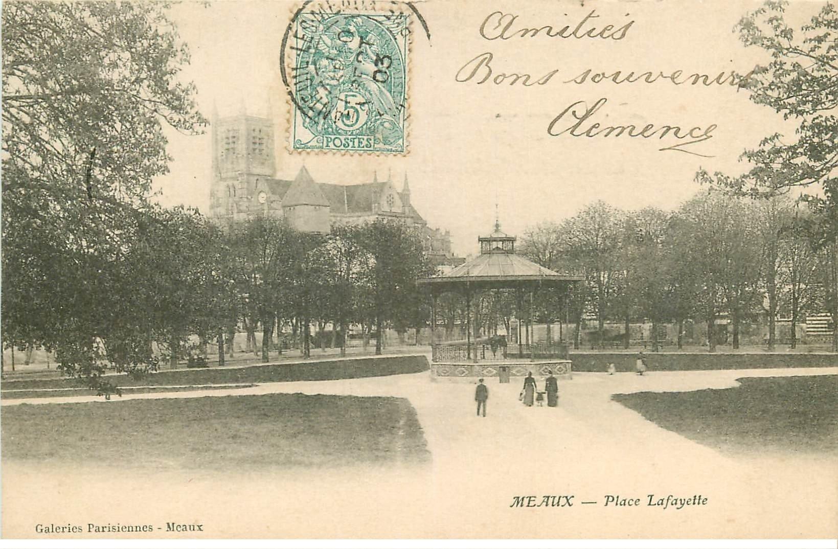carte postale ancienne 77 MEAUX. Place Lafayette 1903