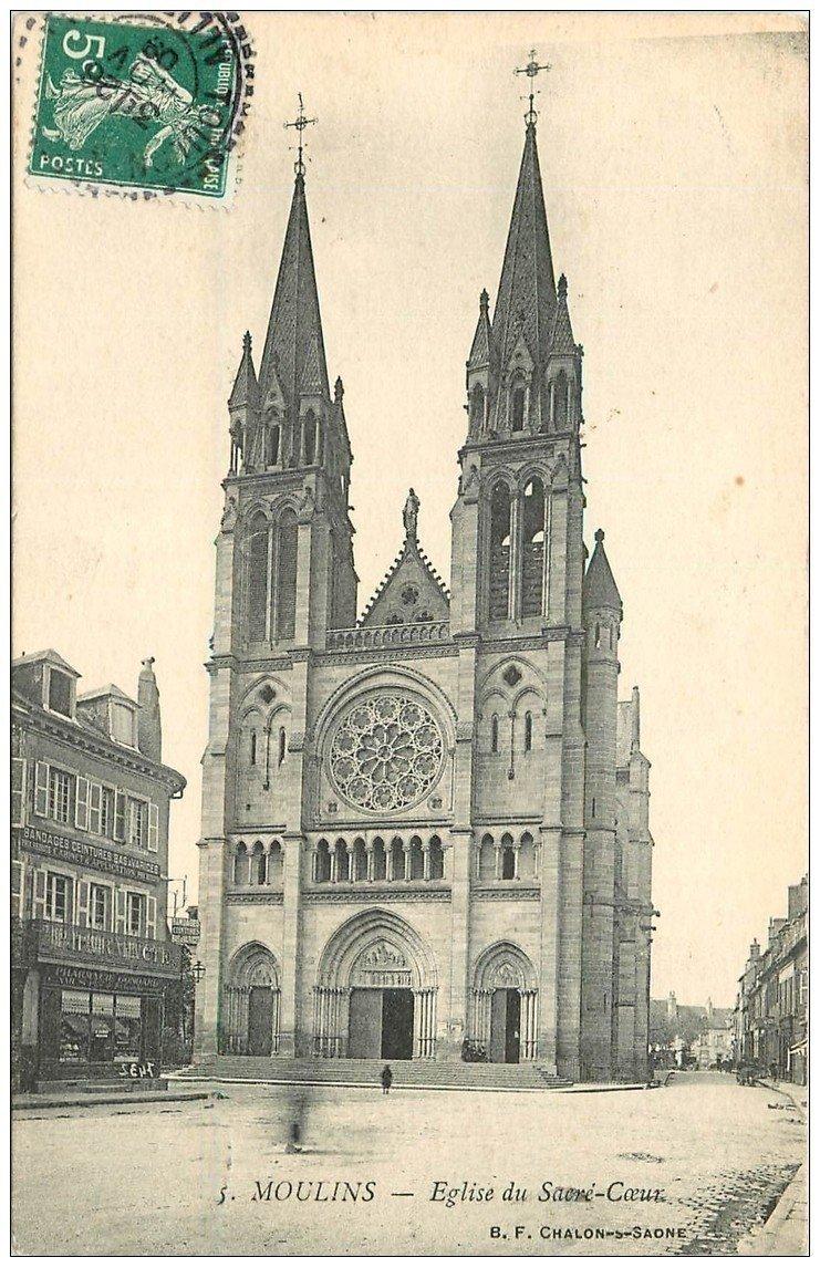 carte postale ancienne 03 MOULINS. Eglise du Sacré-Coeur 1909