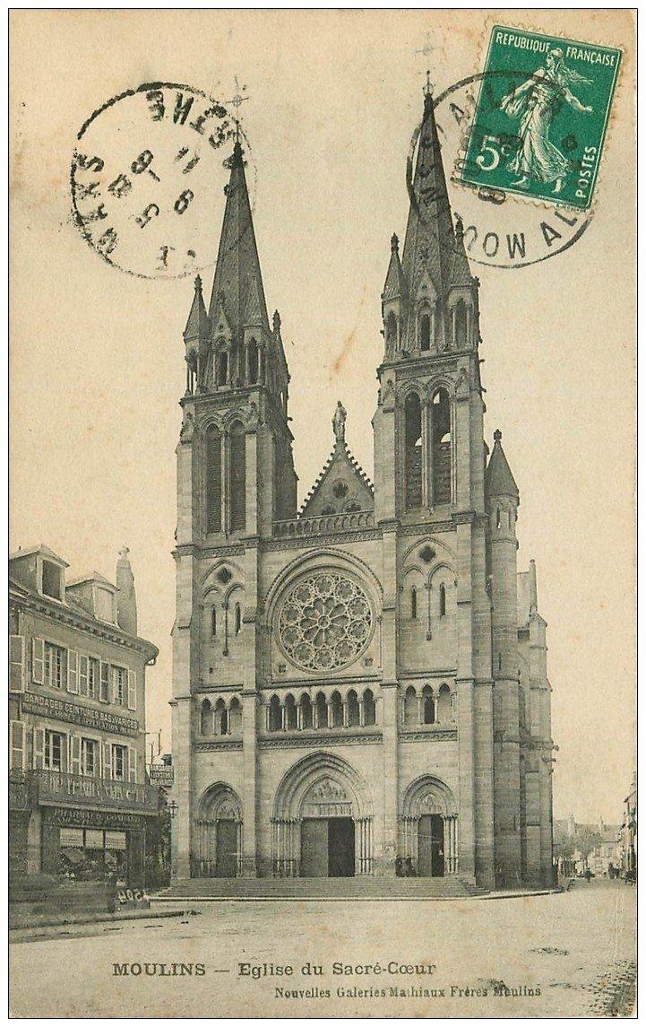 carte postale ancienne 03 MOULINS. Eglise du Sacré-Coeur 1911. Pharmacie