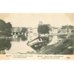carte postale ancienne 77 MEAUX. Ponts sautés et bateaux coulés Guerre 1914-18