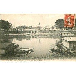 carte postale ancienne 77 MEAUX. Quai Sadi-Carnot et Vieux Pont 1913