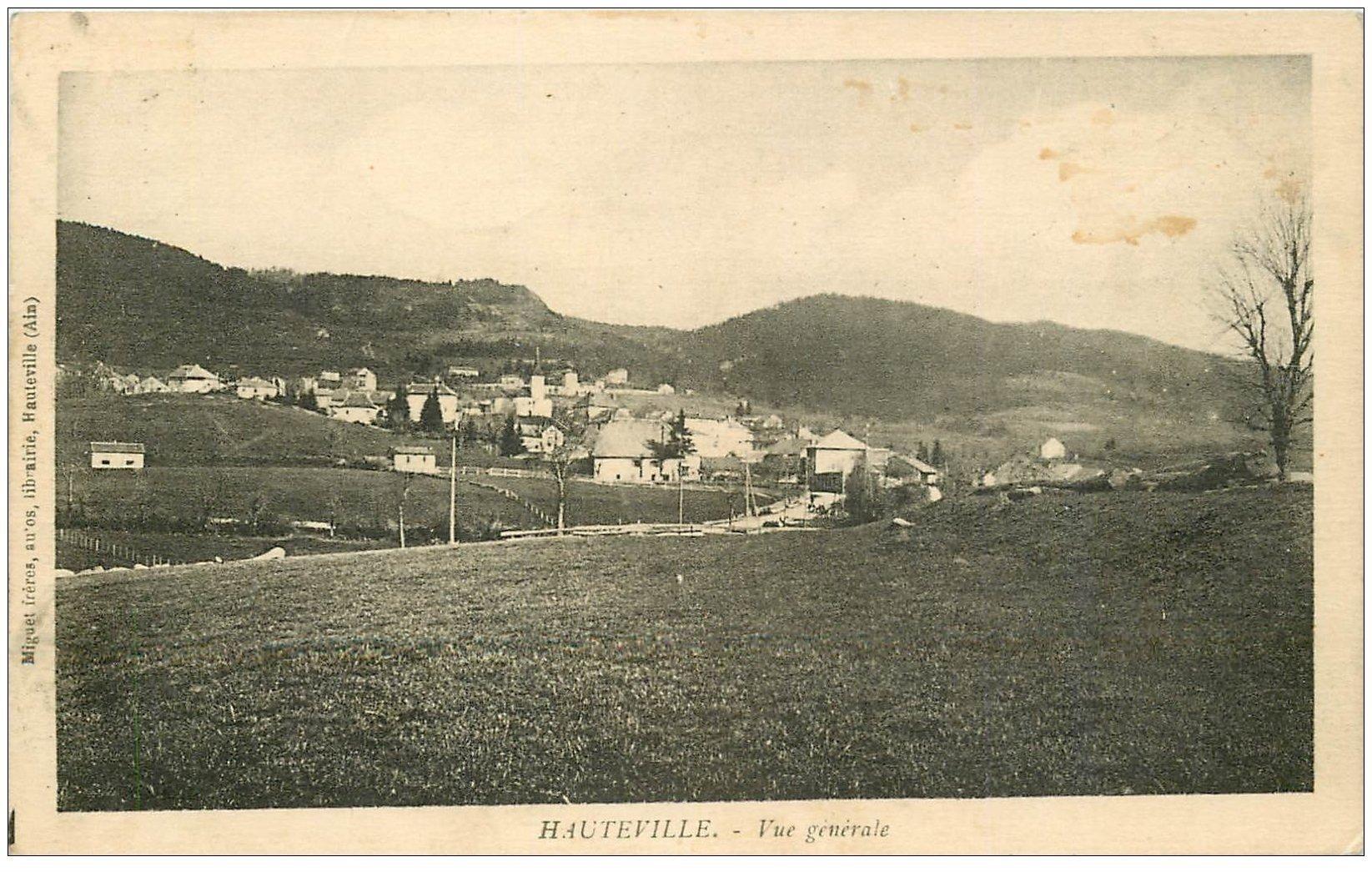 carte postale ancienne 01 HAUTEVILLE. Le Village 1936. Ed Miguet librairie