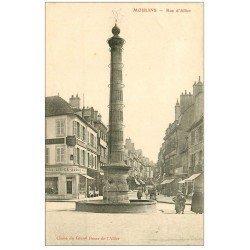 carte postale ancienne 03 MOULINS. Fontaine rue d'Allier et Mercerie