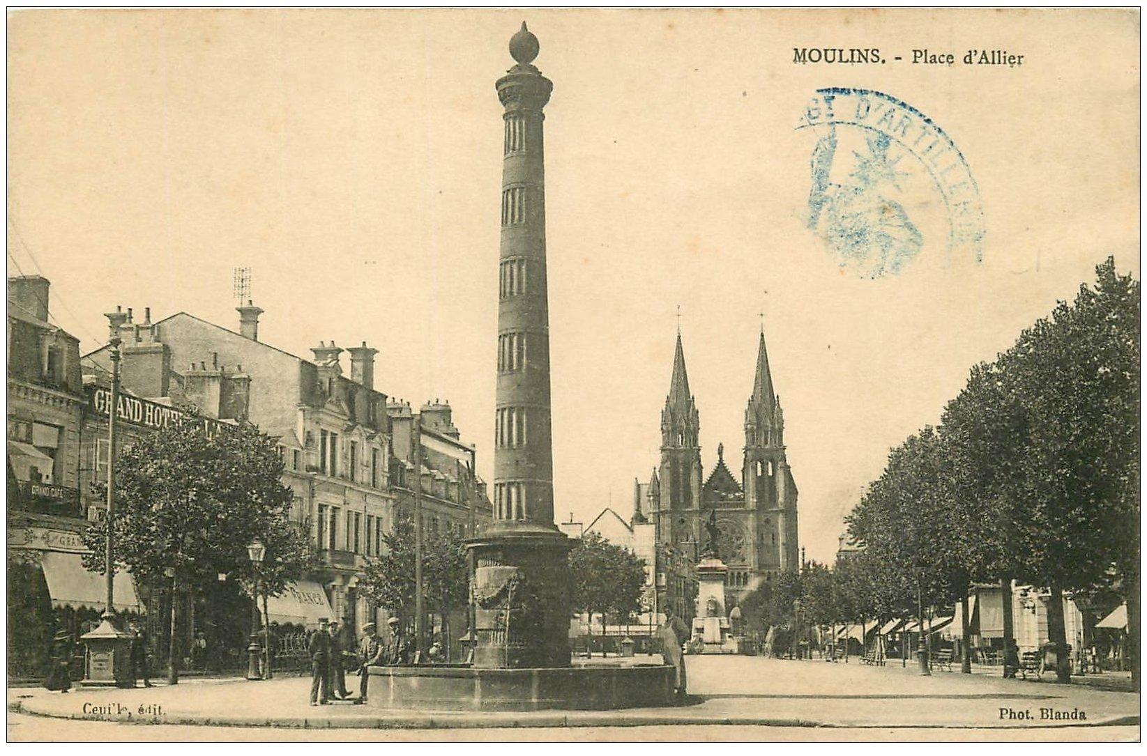 carte postale ancienne 03 MOULINS. Grand Hôtel Place d'Allier 1914