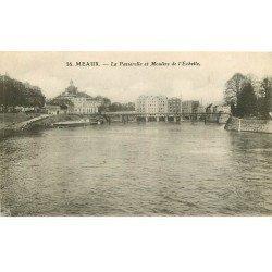 carte postale ancienne 77 MEAUX. Moulins de l'Echelle et Passerelle 1908