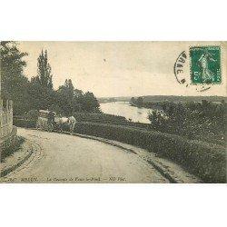 carte postale ancienne 77 MELUN. La Descente de Vaux-le-Pénil 1910. Attelage Pianos José musique et instruments