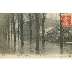 carte postale ancienne 77 MELUN. Crue Inondation 1910. Quai de Courtille Epicerie inondée