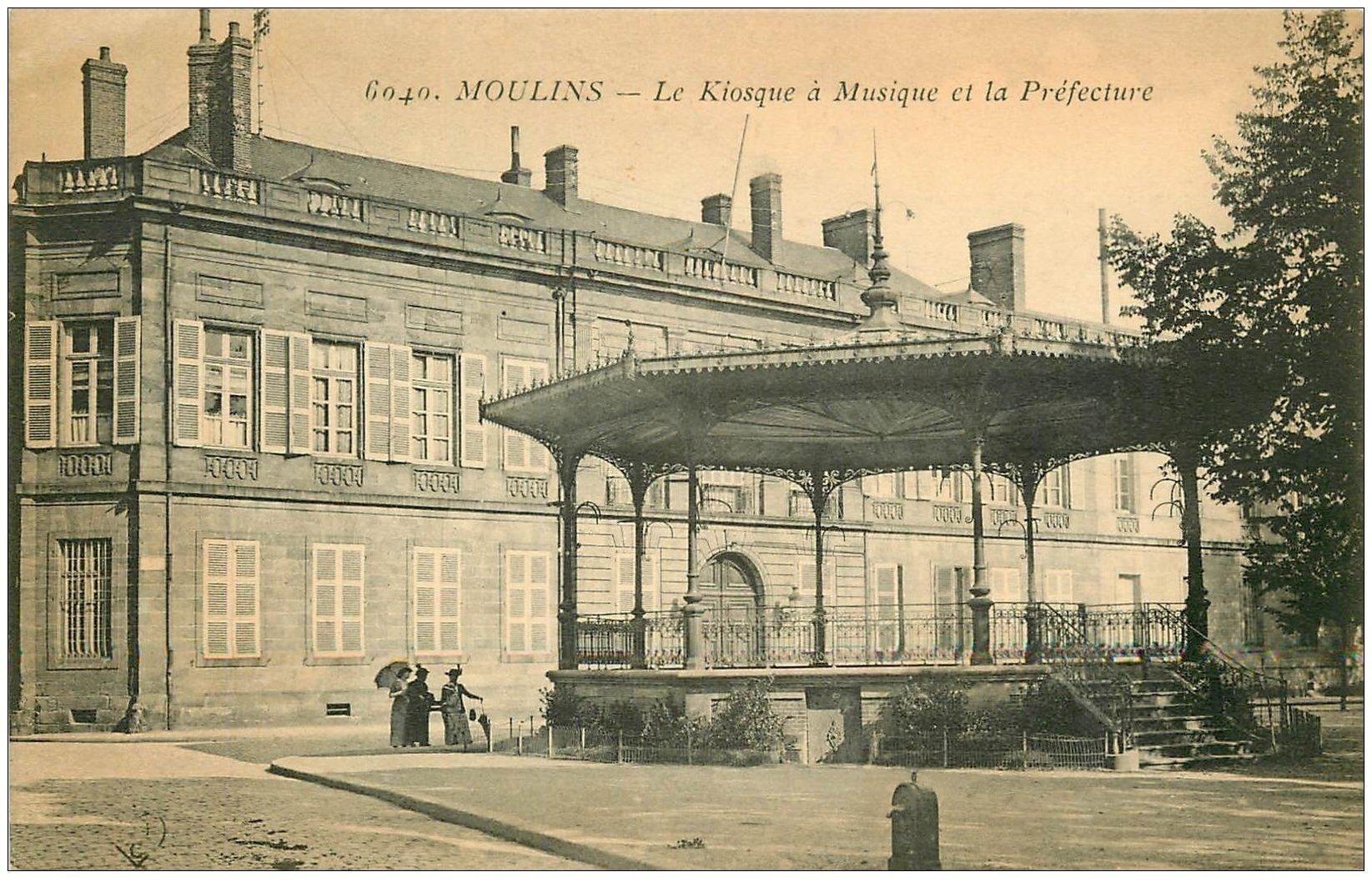 carte postale ancienne 03 MOULINS. Kiosque de la Musique et Préfecture 1916
