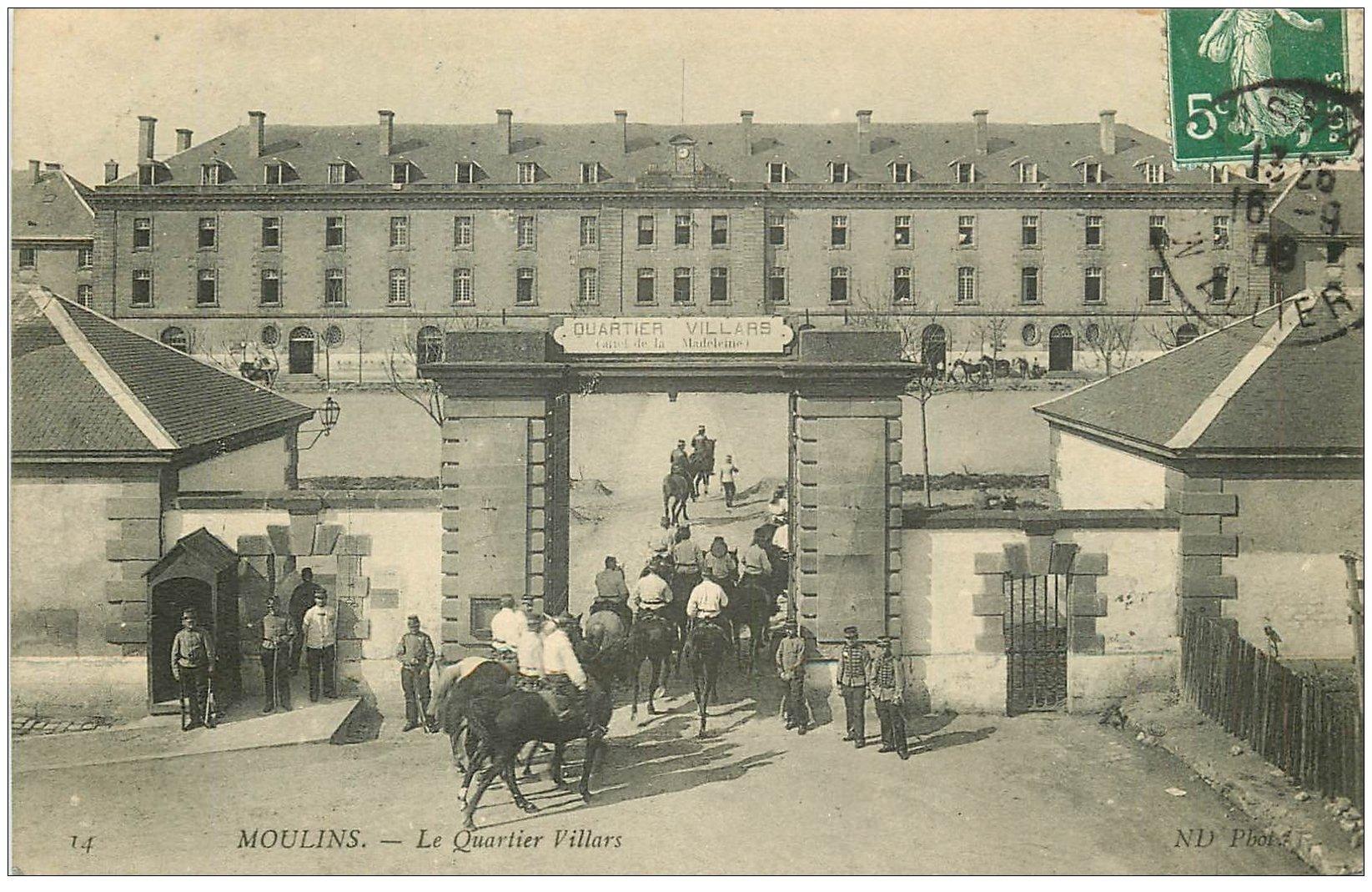 carte postale ancienne 03 MOULINS. Le Quartier Villars 1908. Militaires Cavaliers